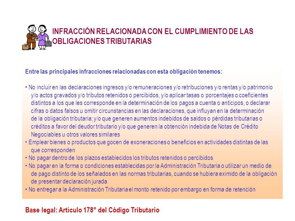 INFRACCIÓN RELACIONADA CON EL CUMPLIMIENTO DE LAS OBLIGACIONES TRIBUTARIAS Base legal: Artículo 178° del Código Tributario Entre las principales infra