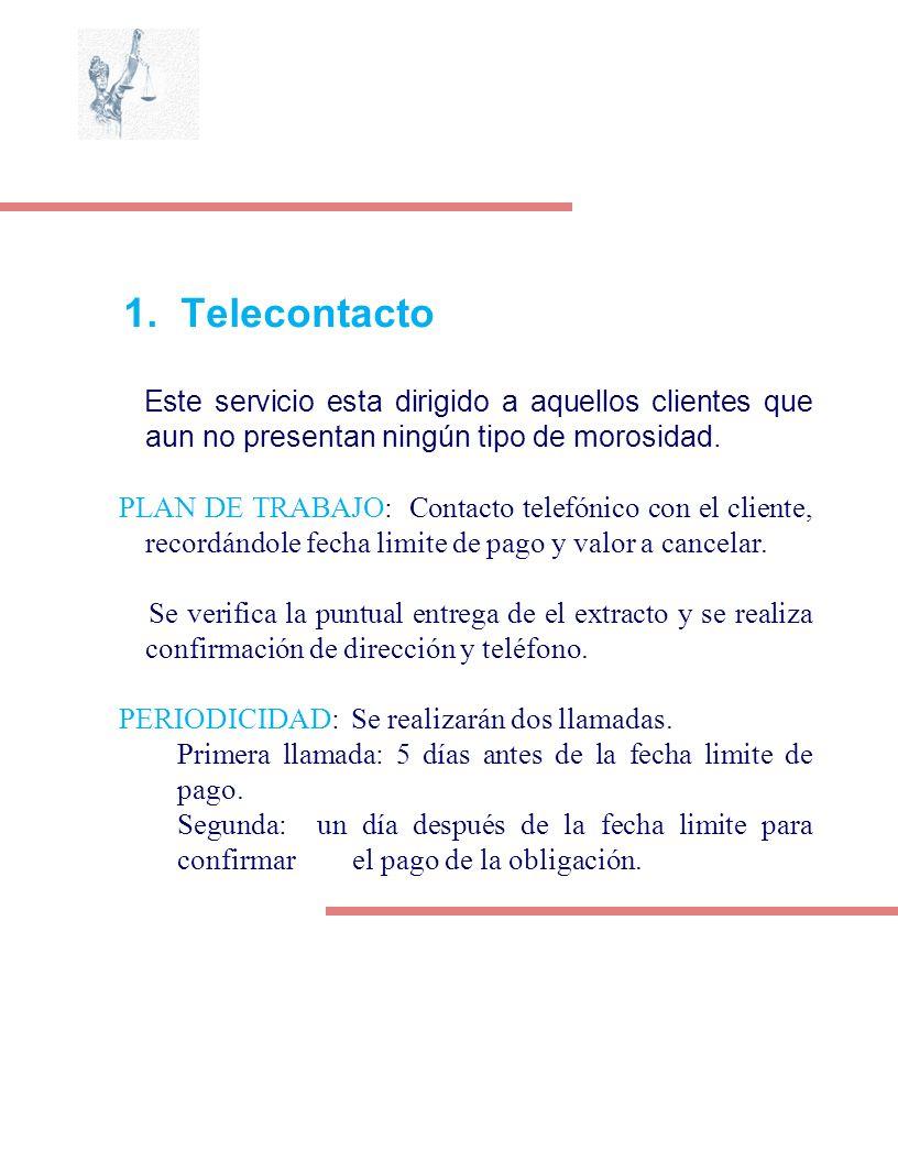 1. Telecontacto Este servicio esta dirigido a aquellos clientes que aun no presentan ningún tipo de morosidad. PLAN DE TRABAJO: Contacto telefónico co
