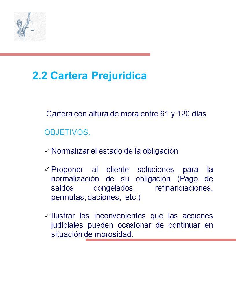 2.2 Cartera Prejuridica Cartera con altura de mora entre 61 y 120 días. OBJETIVOS. Normalizar el estado de la obligación Proponer al cliente solucione