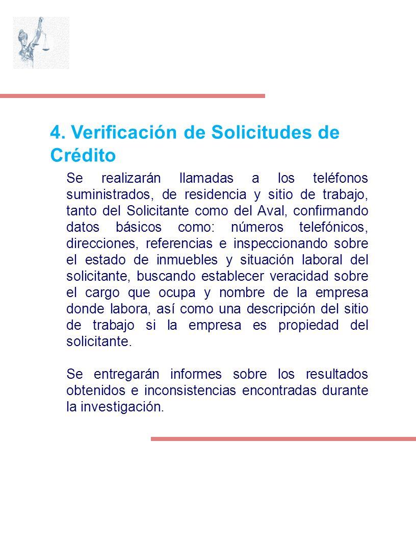 4. Verificación de Solicitudes de Crédito Se realizarán llamadas a los teléfonos suministrados, de residencia y sitio de trabajo, tanto del Solicitant