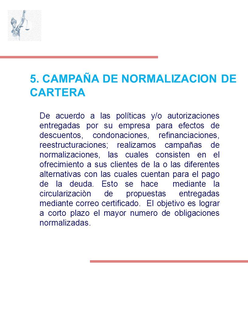 5. CAMPAÑA DE NORMALIZACION DE CARTERA De acuerdo a las políticas y/o autorizaciones entregadas por su empresa para efectos de descuentos, condonacion