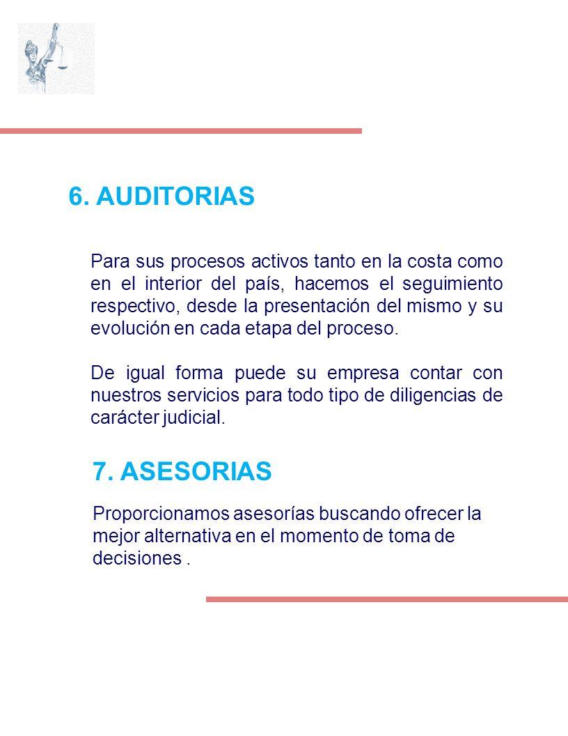 6. AUDITORIAS Para sus procesos activos tanto en la costa como en el interior del país, hacemos el seguimiento respectivo, desde la presentación del m