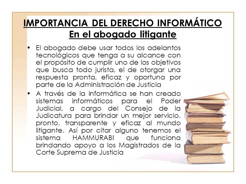 IMPORTANCIA DEL DERECHO INFORMÁTICO En el abogado litigante El abogado debe usar todos los adelantos tecnológicos que tenga a su alcance con el propós