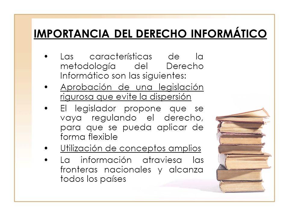 IMPORTANCIA DEL DERECHO INFORMÁTICO Las características de la metodología del Derecho Informático son las siguientes: Aprobación de una legislación ri