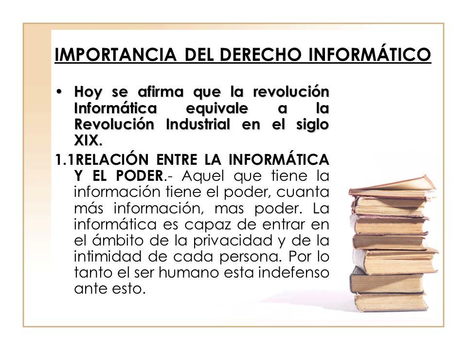 IMPORTANCIA DEL DERECHO INFORMÁTICO Hoy se afirma que la revolución Informática equivale a la Revolución Industrial en el siglo XIX. Hoy se afirma que
