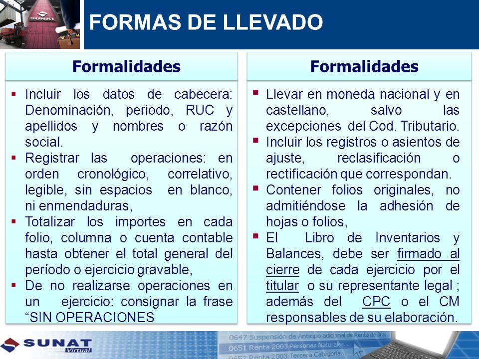 FORMAS DE LLEVADO Incluir los datos de cabecera: Denominación, periodo, RUC y apellidos y nombres o razón social. Registrar las operaciones: en orden