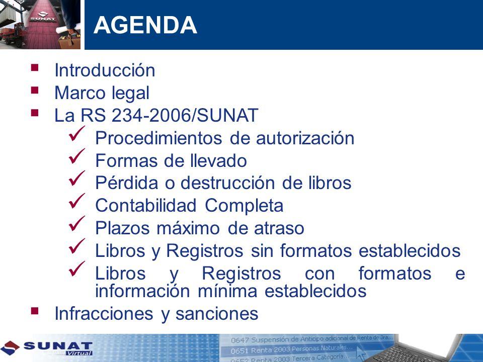 AGENDA Introducción Marco legal La RS 234-2006/SUNAT Procedimientos de autorización Formas de llevado Pérdida o destrucción de libros Contabilidad Com