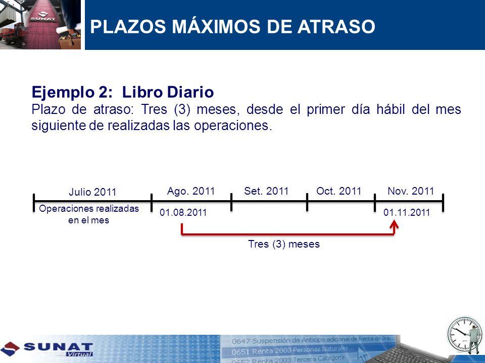 Ejemplo 2: Libro Diario Plazo de atraso: Tres (3) meses, desde el primer día hábil del mes siguiente de realizadas las operaciones. Julio 2011 Operaci