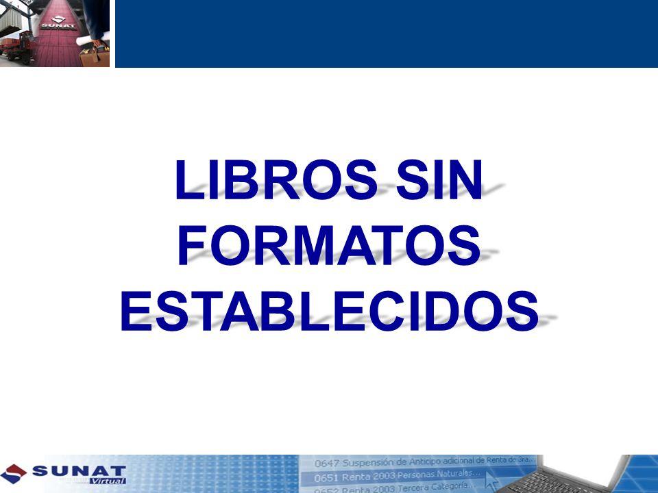 LIBROS SIN FORMATOS ESTABLECIDOS