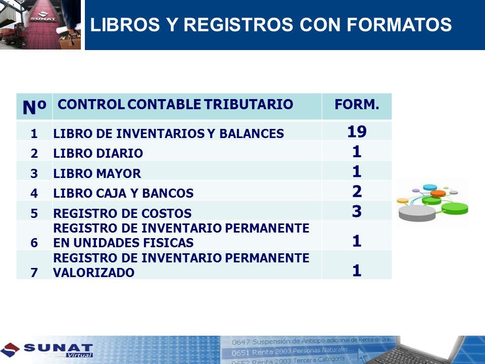 LIBROS Y REGISTROS CON FORMATOS Nº CONTROL CONTABLE TRIBUTARIOFORM. 1LIBRO DE INVENTARIOS Y BALANCES 19 2LIBRO DIARIO 1 3LIBRO MAYOR 1 4LIBRO CAJA Y B