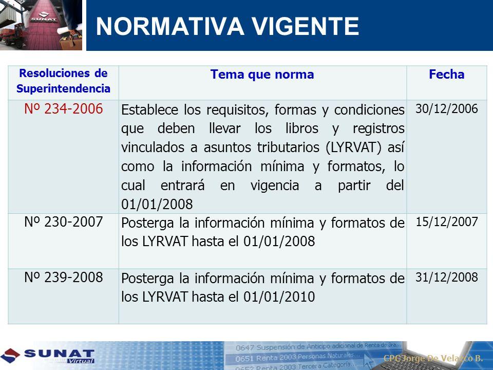 CPC Jorge De Velazco B. Resoluciones de Superintendencia Tema que normaFecha Nº 234-2006 Establece los requisitos, formas y condiciones que deben llev