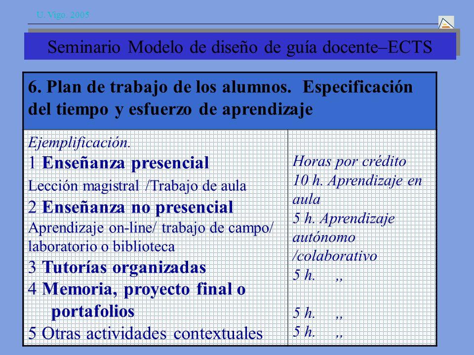 U. Vigo. 2005 6. Plan de trabajo de los alumnos.