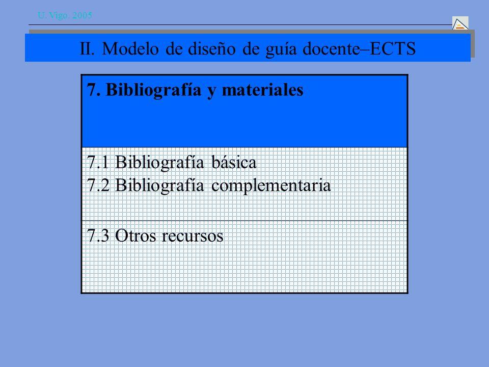 U. Vigo. 2005 II. Modelo de diseño de guía docente–ECTS 7.