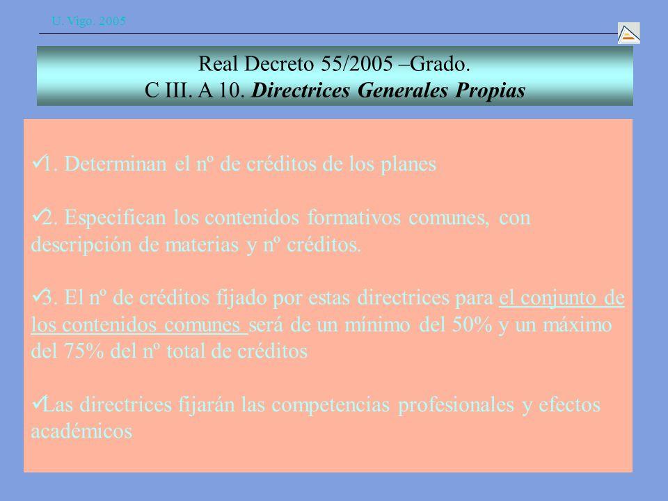 U. Vigo. 2005 1. Determinan el nº de créditos de los planes 2.