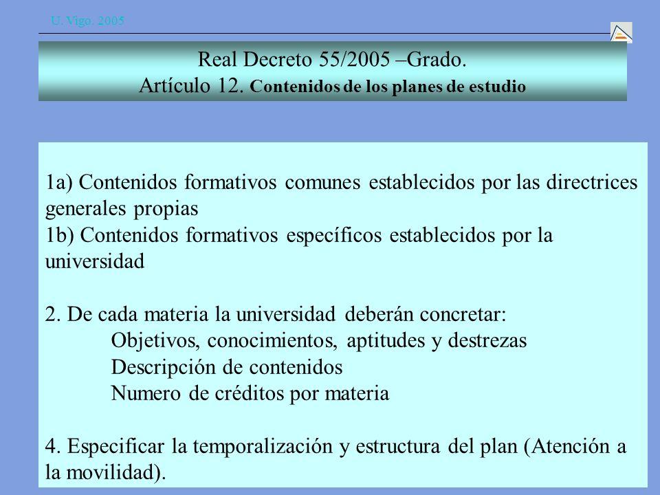 U. Vigo. 2005 Real Decreto 55/2005 –Grado. Artículo 12.