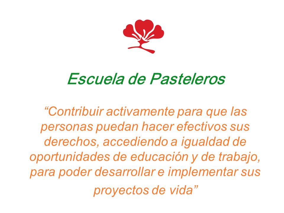 Escuela de Pasteleros Contribuir activamente para que las personas puedan hacer efectivos sus derechos, accediendo a igualdad de oportunidades de educ