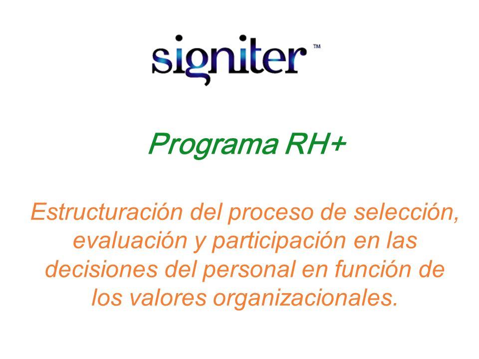 Programa RH+ Estructuración del proceso de selección, evaluación y participación en las decisiones del personal en función de los valores organizacion