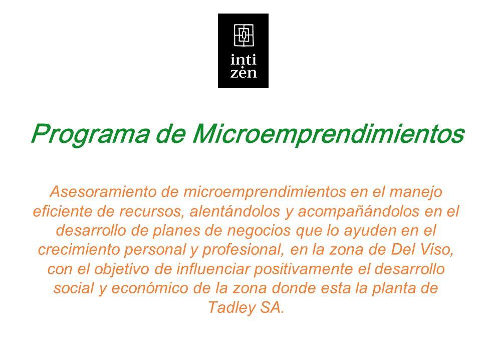 Programa de Microemprendimientos Asesoramiento de microemprendimientos en el manejo eficiente de recursos, alentándolos y acompañándolos en el desarro