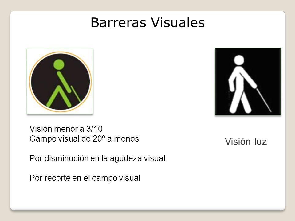 Barreras Visuales Visión luz Visión menor a 3/10 Campo visual de 20º a menos Por disminución en la agudeza visual.