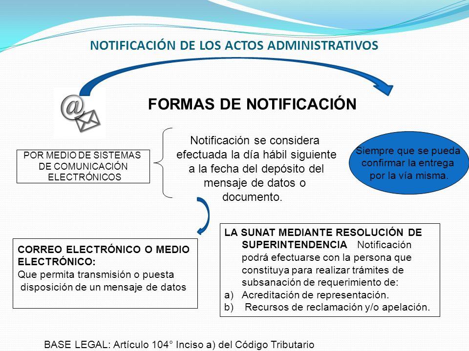 NOTIFICACIÓN DE LOS ACTOS ADMINISTRATIVOS POR MEDIO DE SISTEMAS DE COMUNICACIÓN ELECTRÓNICOS Notificación se considera efectuada la día hábil siguient