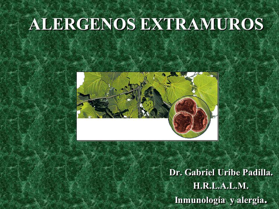 Dr. Gabriel Uribe Padilla. H.R.L.A.L.M. Inmunología y alergia. Dr. Gabriel Uribe Padilla. H.R.L.A.L.M. Inmunología y alergia. ALERGENOS EXTRAMUROS