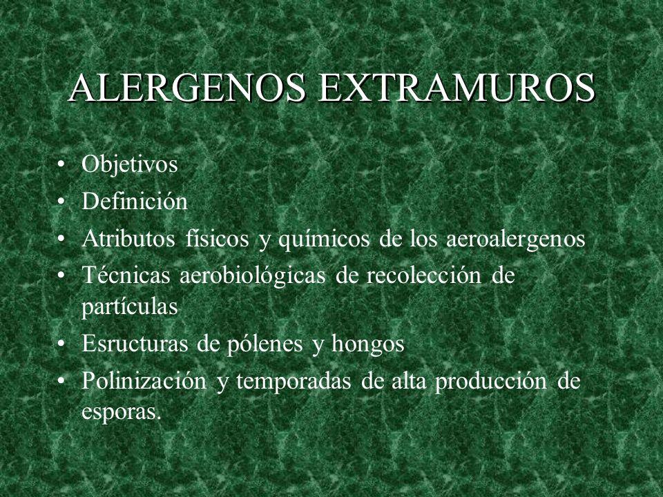 Objetivos Definición Atributos físicos y químicos de los aeroalergenos Técnicas aerobiológicas de recolección de partículas Esructuras de pólenes y ho