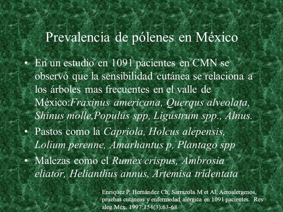 En un estudio en 1091 pacientes en CMN se observó que la sensibilidad cutánea se relaciona a los árboles mas frecuentes en el valle de México:Fraxinus