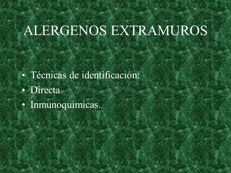 ALERGENOS EXTRAMUROS Técnicas de identificación: Directa Inmunoquímicas.