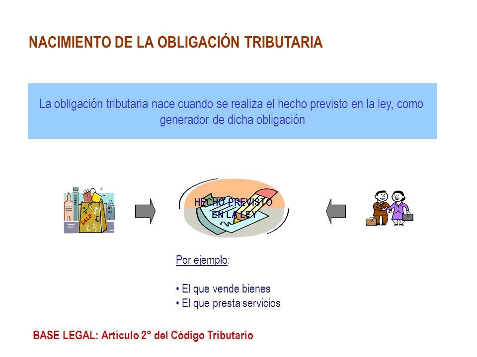 La obligación tributaria nace cuando se realiza el hecho previsto en la ley, como generador de dicha obligación BASE LEGAL: Artículo 2° del Código Tri