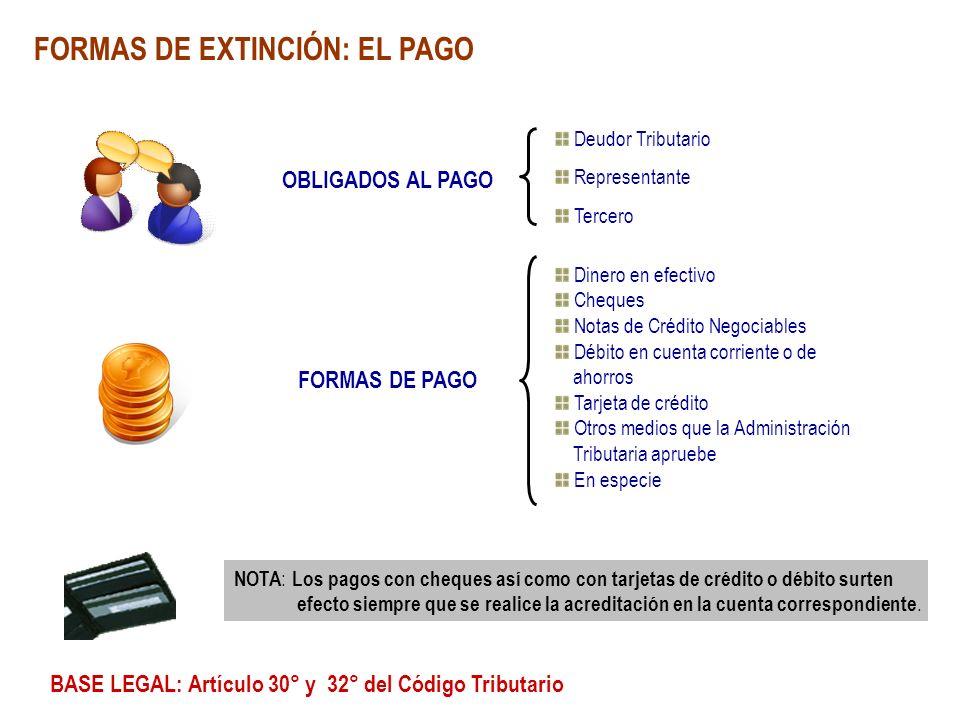 FORMAS DE EXTINCIÓN: EL PAGO OBLIGADOS AL PAGO Dinero en efectivo Cheques Notas de Crédito Negociables Débito en cuenta corriente o de ahorros Tarjeta
