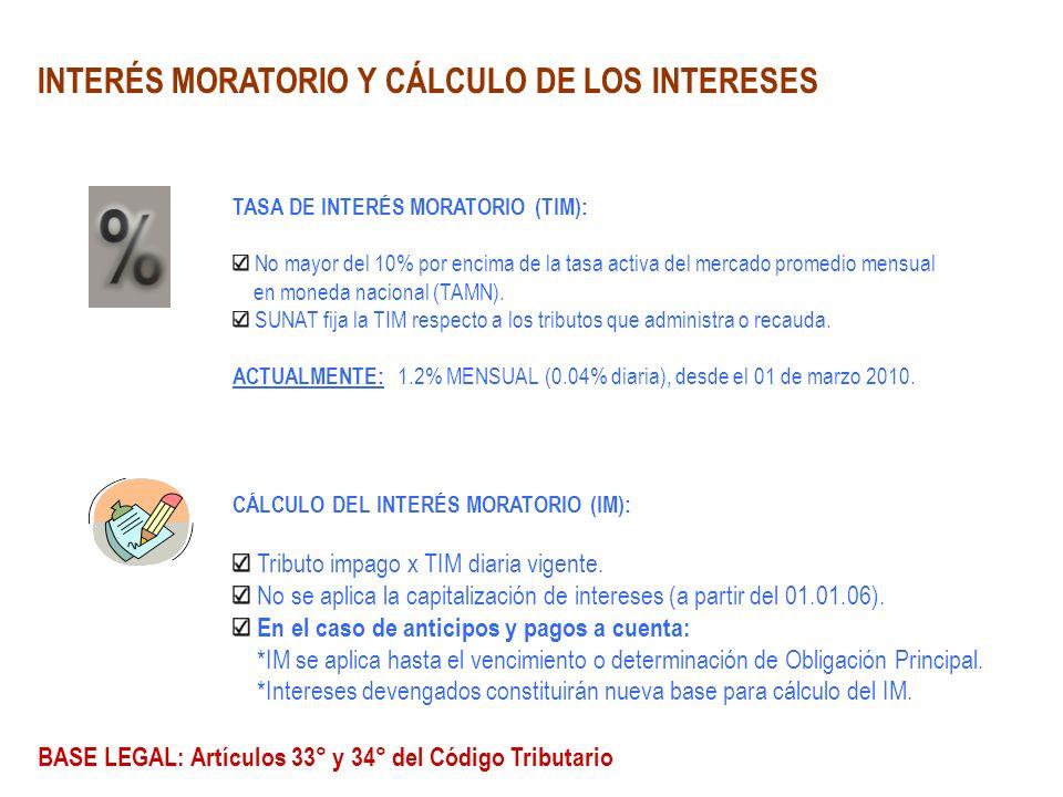 INTERÉS MORATORIO Y CÁLCULO DE LOS INTERESES TASA DE INTERÉS MORATORIO (TIM): No mayor del 10% por encima de la tasa activa del mercado promedio mensu