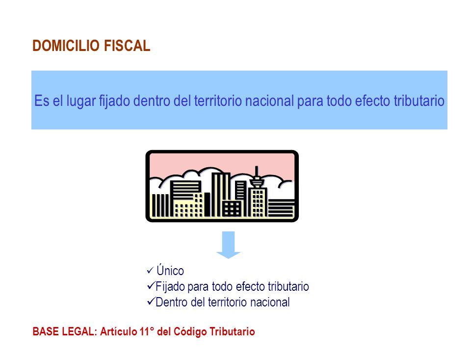 Es el lugar fijado dentro del territorio nacional para todo efecto tributario BASE LEGAL: Artículo 11° del Código Tributario DOMICILIO FISCAL Único Fi