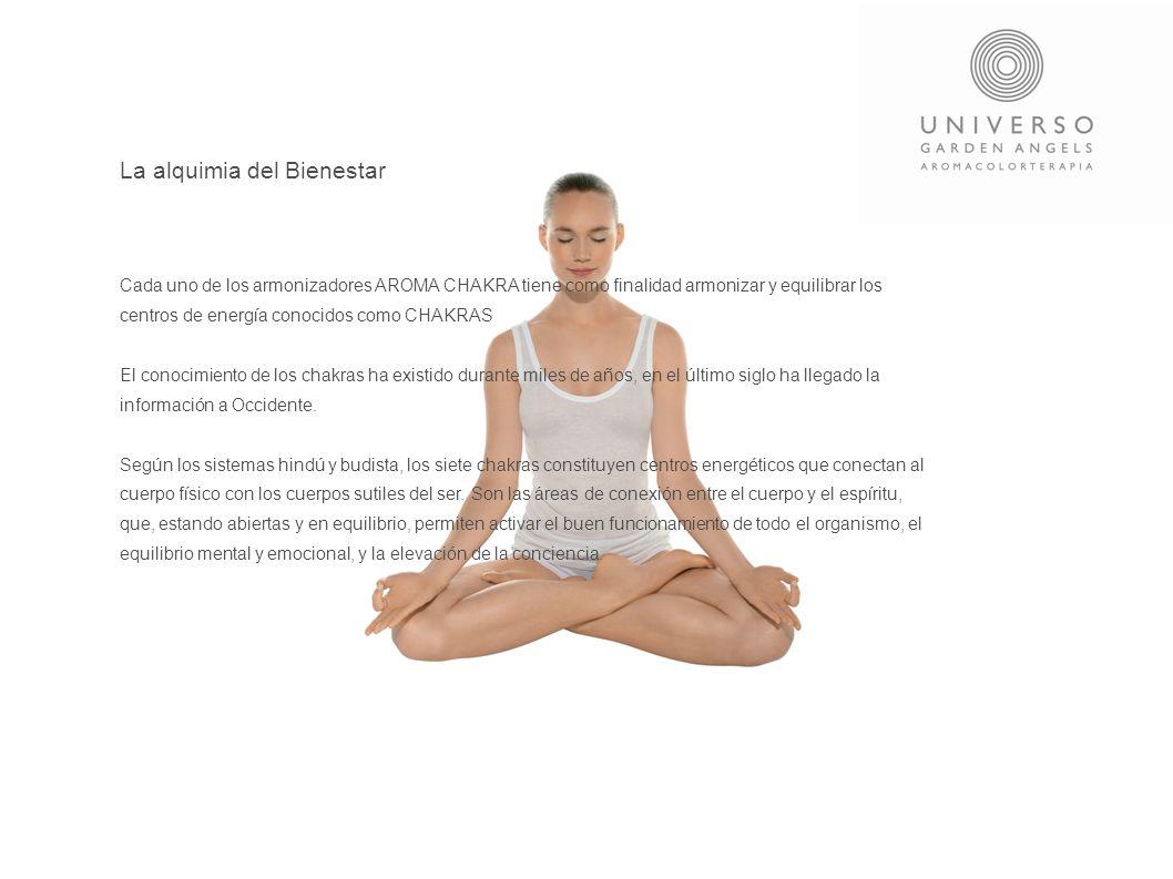 La alquimia del Bienestar Cada uno de los armonizadores AROMA CHAKRA tiene como finalidad armonizar y equilibrar los centros de energía conocidos como