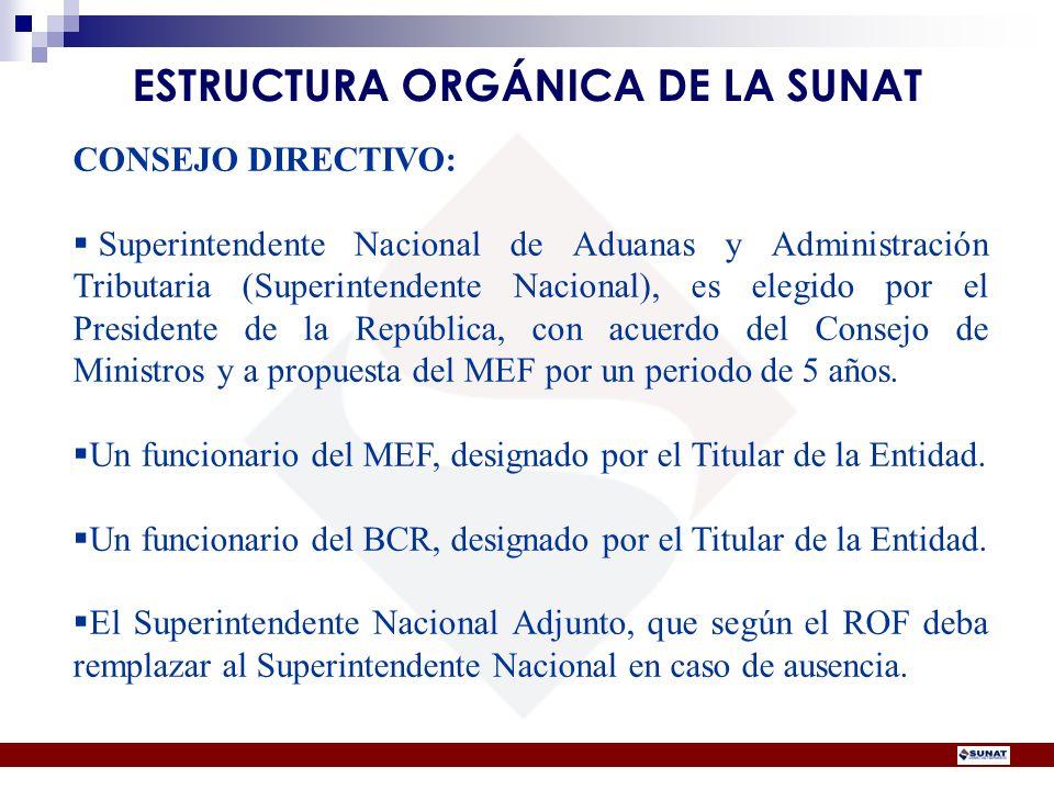 CONSEJO DIRECTIVO: Superintendente Nacional de Aduanas y Administración Tributaria (Superintendente Nacional), es elegido por el Presidente de la Repú