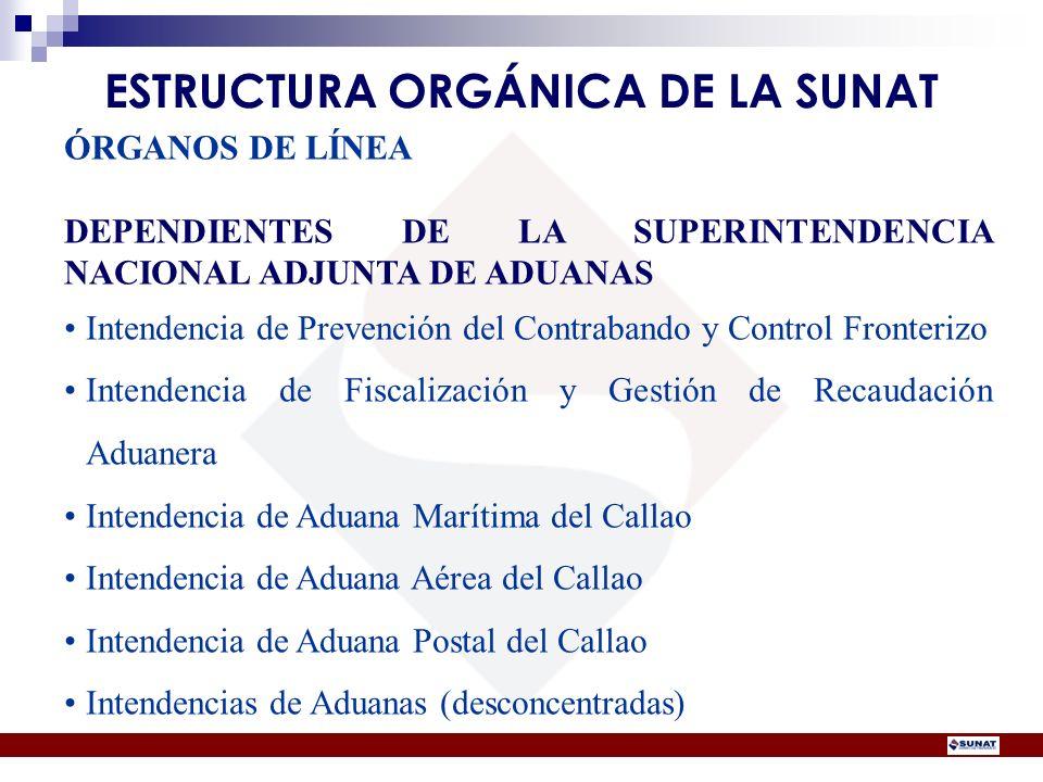 ÓRGANOS DE LÍNEA DEPENDIENTES DE LA SUPERINTENDENCIA NACIONAL ADJUNTA DE ADUANAS Intendencia de Prevención del Contrabando y Control Fronterizo Intend