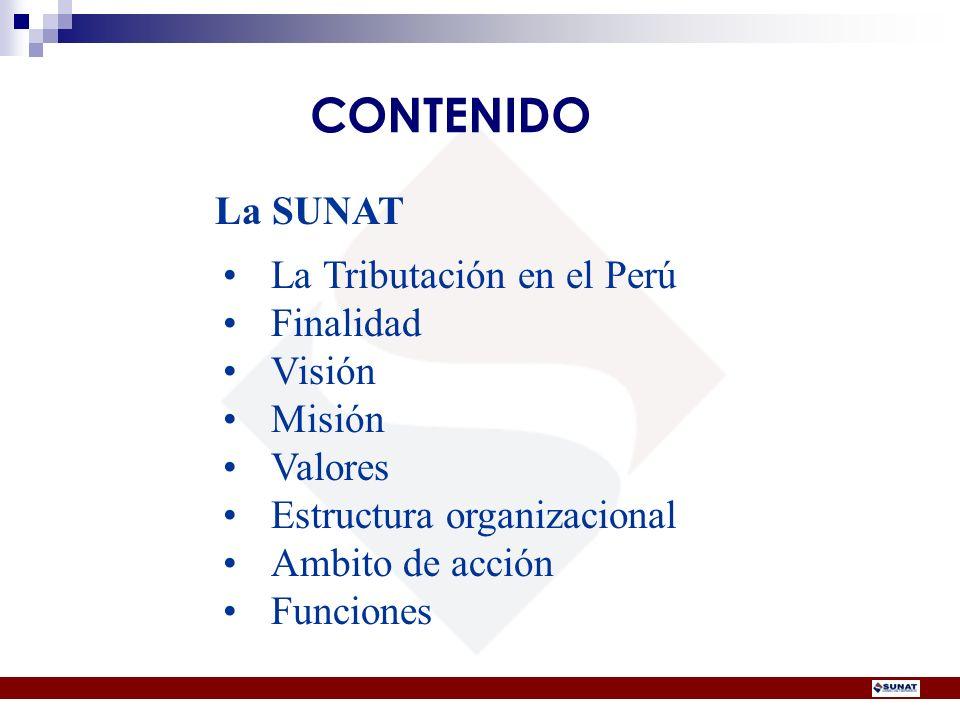 CONTENIDO La SUNAT La Tributación en el Perú Finalidad Visión Misión Valores Estructura organizacional Ambito de acción Funciones