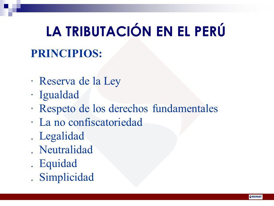 PRINCIPIOS: · Reserva de la Ley · Igualdad · Respeto de los derechos fundamentales · La no confiscatoriedad. Legalidad. Neutralidad. Equidad. Simplici