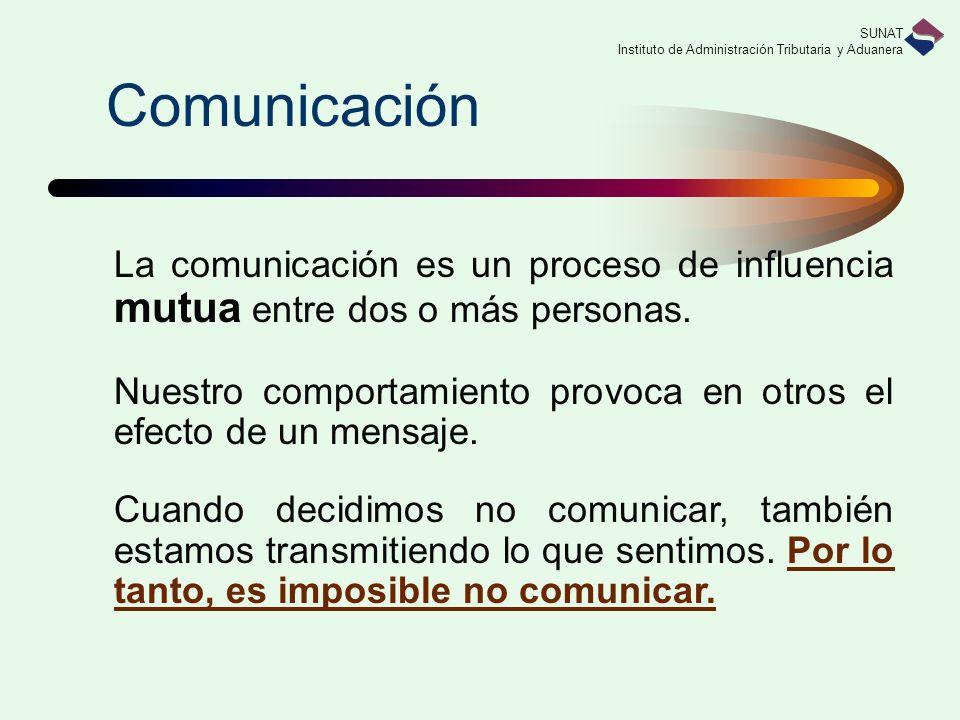 SUNAT Instituto de Administración Tributaria y Aduanera Comunicación La comunicación es un proceso de influencia mutua entre dos o más personas. Nuest