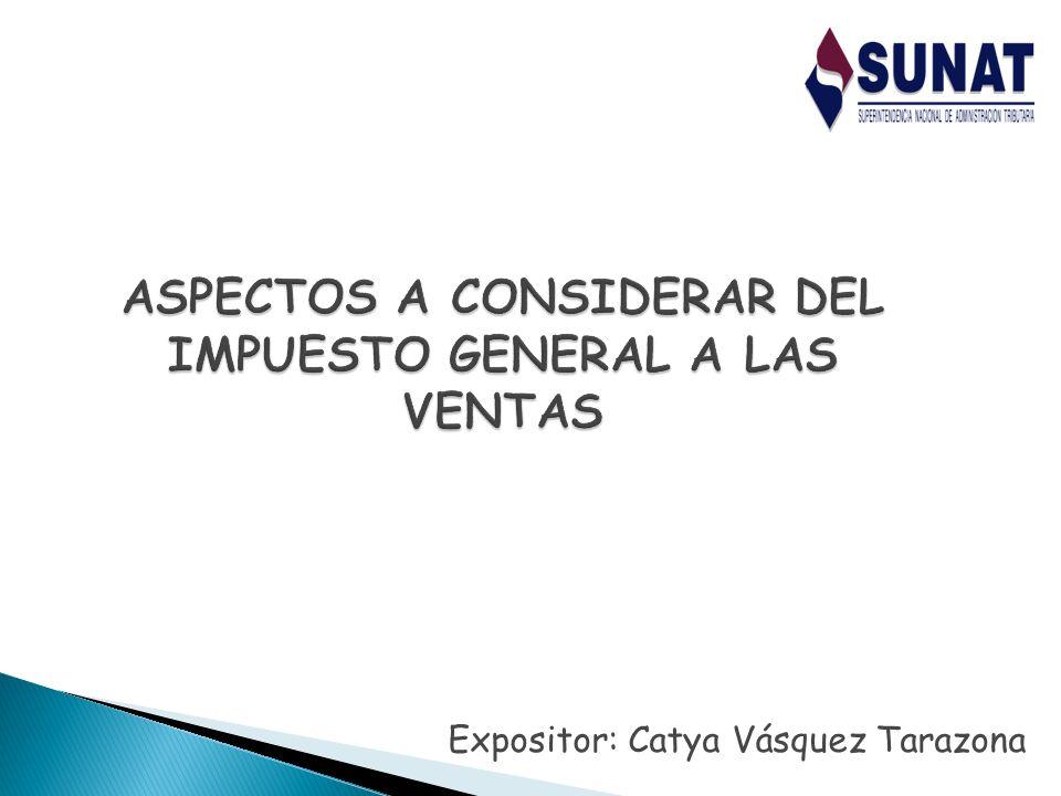 Catya Vásquez Tarazona 2 Indice Temático 1.Imposición al Consumo en el Perú 2.