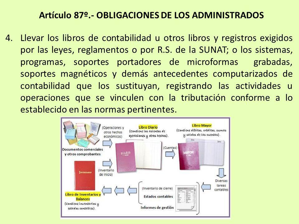 4.Llevar los libros de contabilidad u otros libros y registros exigidos por las leyes, reglamentos o por R.S. de la SUNAT; o los sistemas, programas,