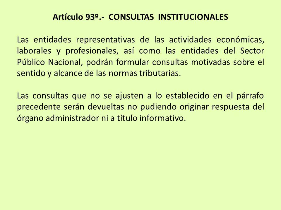 Artículo 93º.- CONSULTAS INSTITUCIONALES Las entidades representativas de las actividades económicas, laborales y profesionales, así como las entidade