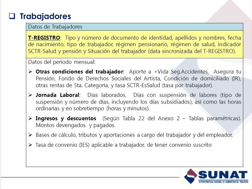 Datos de Trabajadores T-REGISTRO: Tipo y número de documento de identidad, apellidos y nombres, fecha de nacimiento, tipo de trabajador, régimen pensi