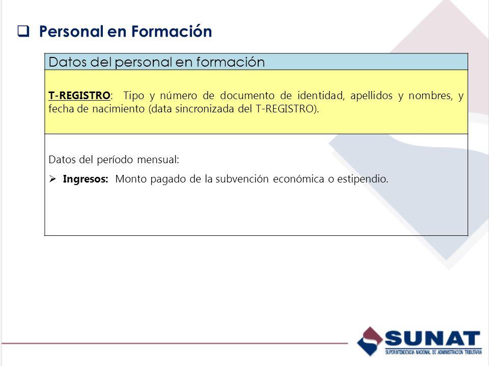 Datos del personal en formación T-REGISTRO: Tipo y número de documento de identidad, apellidos y nombres, y fecha de nacimiento (data sincronizada del