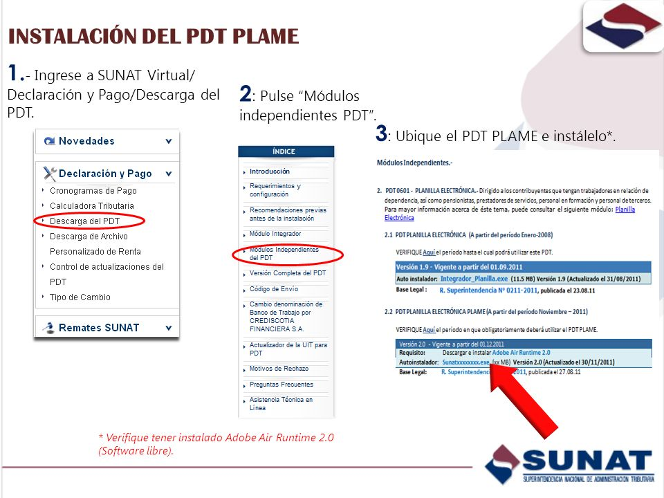 1. - Ingrese a SUNAT Virtual/ Declaración y Pago/Descarga del PDT. 2 : Pulse Módulos independientes PDT. 3 : Ubique el PDT PLAME e instálelo*. * Verif