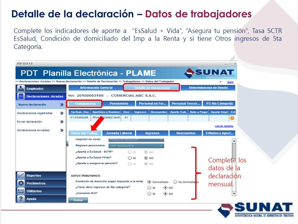 Detalle de la declaración – Datos de trabajadores Complete los indicadores de aporte a EsSalud + Vida, Asegura tu pensión, Tasa SCTR EsSalud, Condició