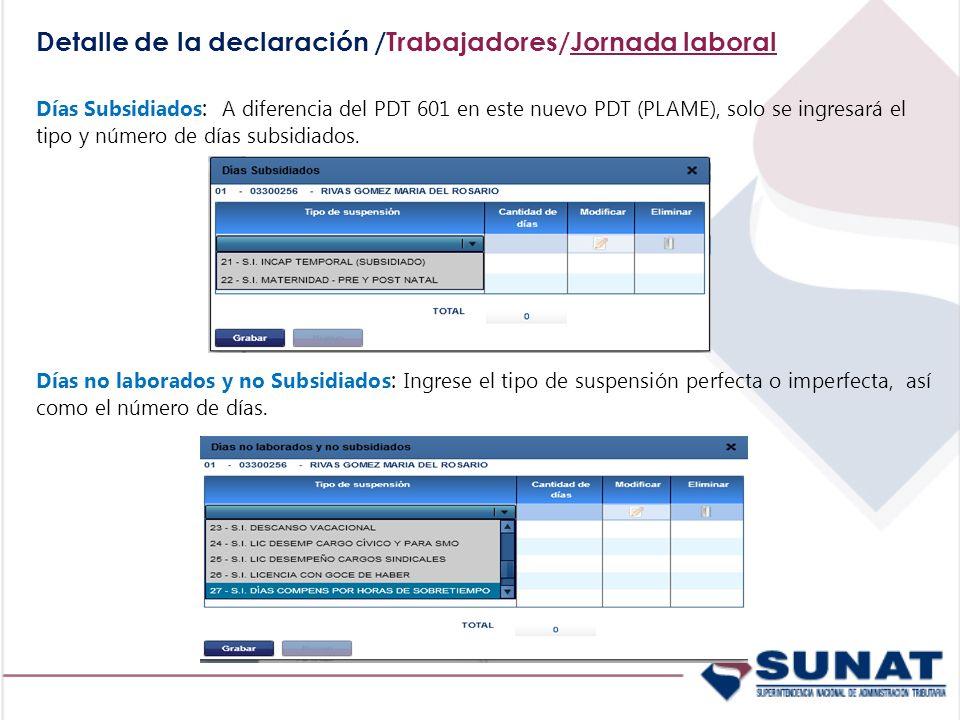 Detalle de la declaración /Trabajadores/Jornada laboral Días Subsidiados : A diferencia del PDT 601 en este nuevo PDT (PLAME), solo se ingresará el ti