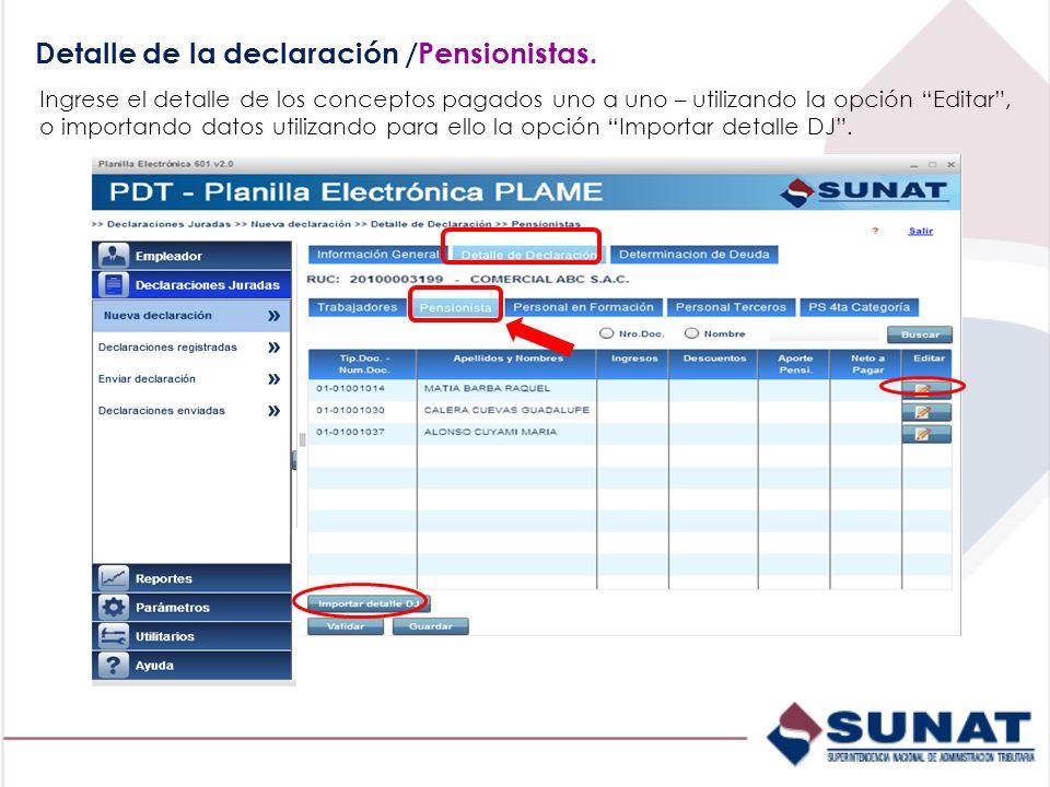 Detalle de la declaración /Pensionistas. Ingrese el detalle de los conceptos pagados uno a uno – utilizando la opción Editar, o importando datos utili