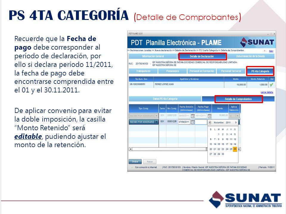 Recuerde que la Fecha de pago debe corresponder al período de declaración, por ello si declara período 11/2011, la fecha de pago debe encontrarse comp