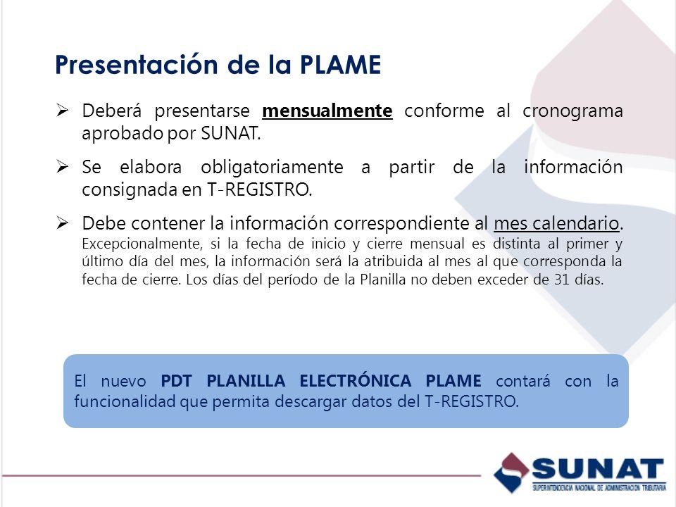 Presentación de la PLAME Deberá presentarse mensualmente conforme al cronograma aprobado por SUNAT. Se elabora obligatoriamente a partir de la informa