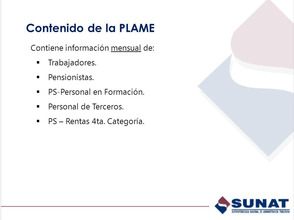 Contenido de la PLAME Contiene información mensual de: Trabajadores. Pensionistas. PS-Personal en Formación. Personal de Terceros. PS – Rentas 4ta. Ca